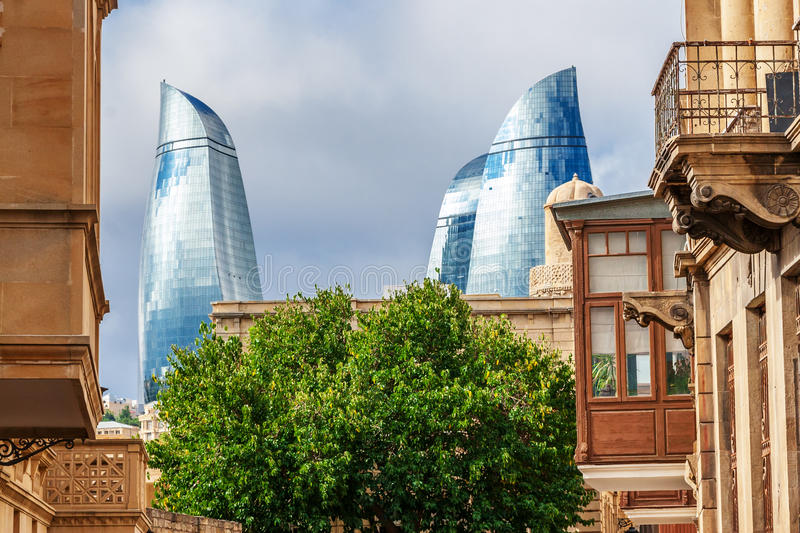 Flame towers: view from old town royalty free stock photo