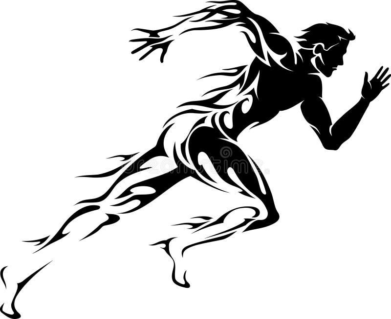 Flame Trail Runner. Blazing fast speed runner isolated on white vector illustration