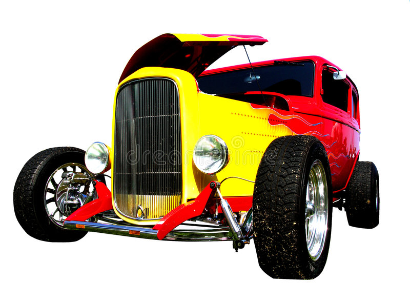 Download Flamed Hot-rod With Hood Open Stock Photo - Image: 1252610
