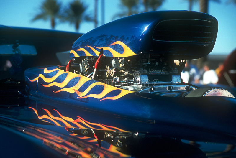 Flamed Supercharger Hood Scoop royalty free stock images