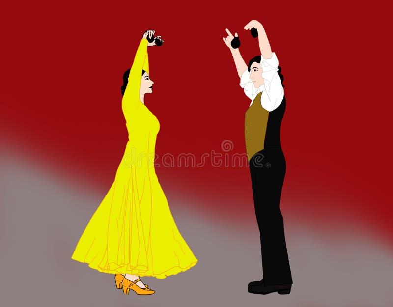 Flamenco ζεύγος χορού με τις καστανιέτες διανυσματική απεικόνιση