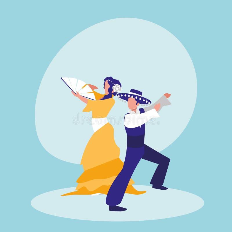 Flamenco οι χορευτές συνδέουν το απομονωμένο εικονίδιο απεικόνιση αποθεμάτων