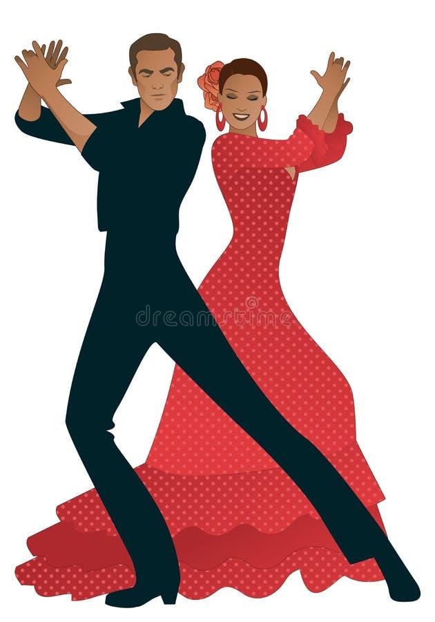 Flamenco παιχνιδιού ζεύγους φοίνικες χορευτών Ο όμορφος άνδρας και η όμορφη γυναίκα με τα λουλούδια στην τρίχα και το χαρακτηριστ διανυσματική απεικόνιση