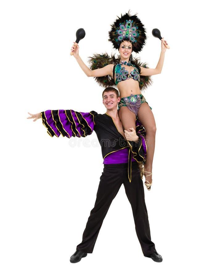 Flamenco τσιγγάνων ζεύγος χορευτών που χορεύει στο απομονωμένο άσπρο κλίμα στοκ φωτογραφία με δικαίωμα ελεύθερης χρήσης
