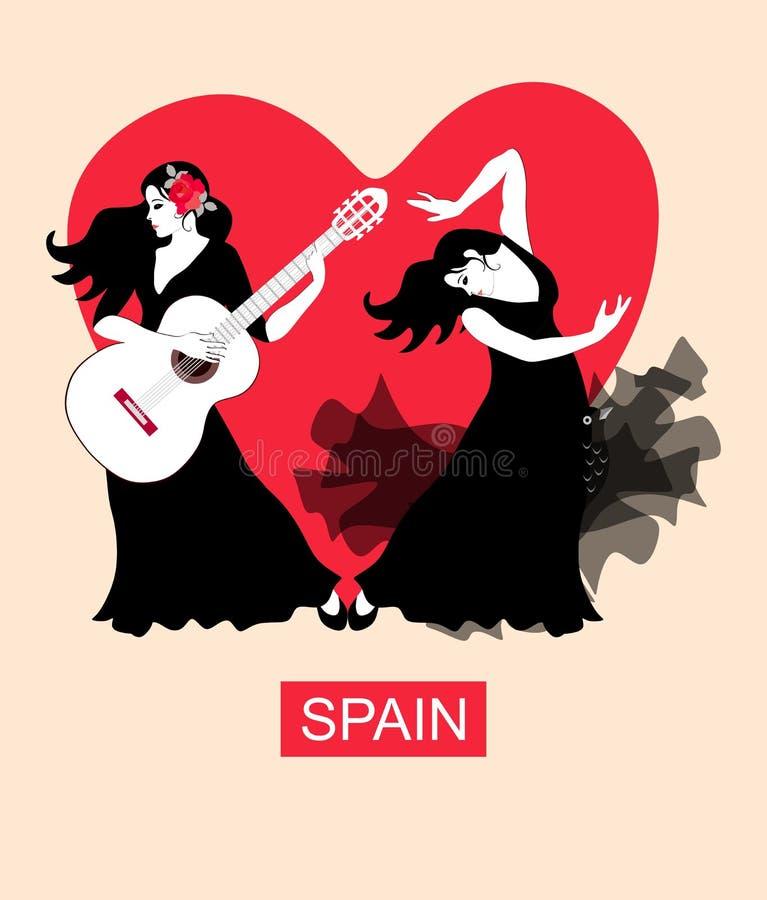 flamenco Девушка в черных танцах платья к аккомпанименту гитары на предпосылке большого красного сердца Плакат flamenco иллюстрация вектора