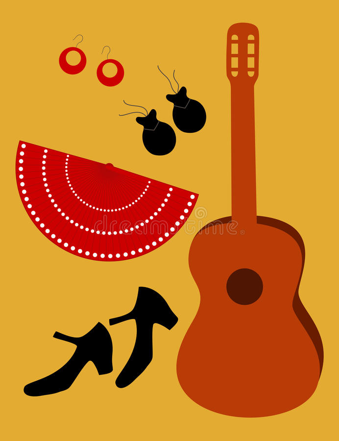 Flamenco accessories, vector. Flamenco accessories: shoes, fan guitar, ear-rings and castanets royalty free illustration
