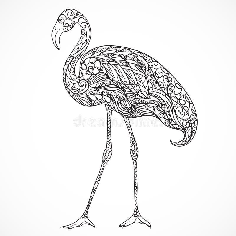 Flamenco adornado con los ornamentos orientales Vector dibujado mano blanco y negro del vintage libre illustration