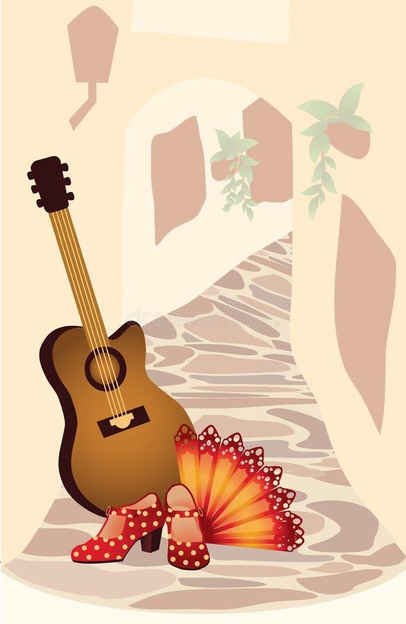 Flamenco. Cartão espanhol. ilustração do vetor