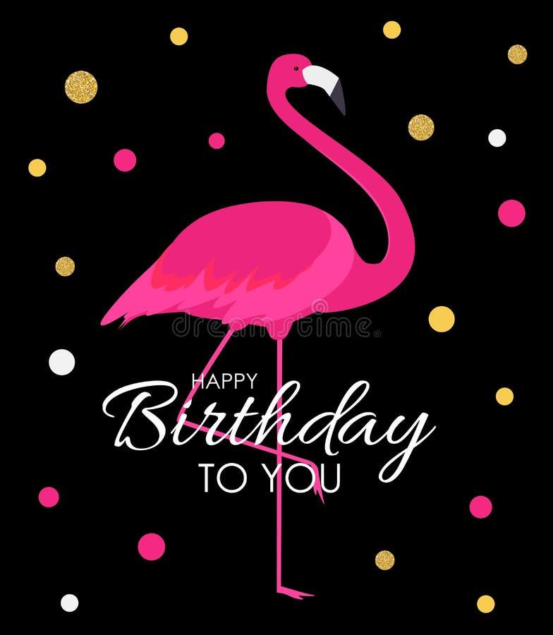 Flamenco colorido del rosa de la historieta en una tarjeta de felicitación hermosa del fondo para los saludos del cumpleaños Ilus stock de ilustración