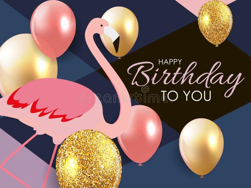 Flamenco colorido del rosa de la historieta en una tarjeta de felicitación hermosa del fondo para los saludos del cumpleaños Ilus ilustración del vector
