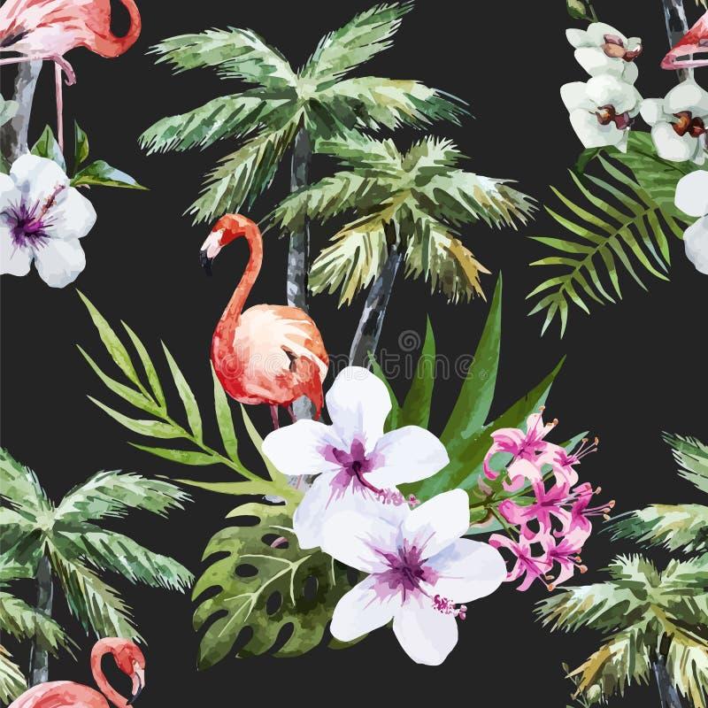 Flamenco con las palmas y las flores ilustración del vector