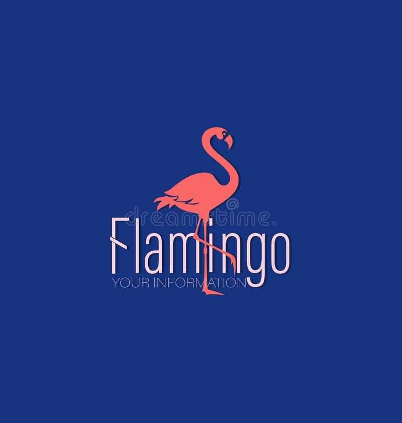 Flamenco coralino y la inscripción stock de ilustración