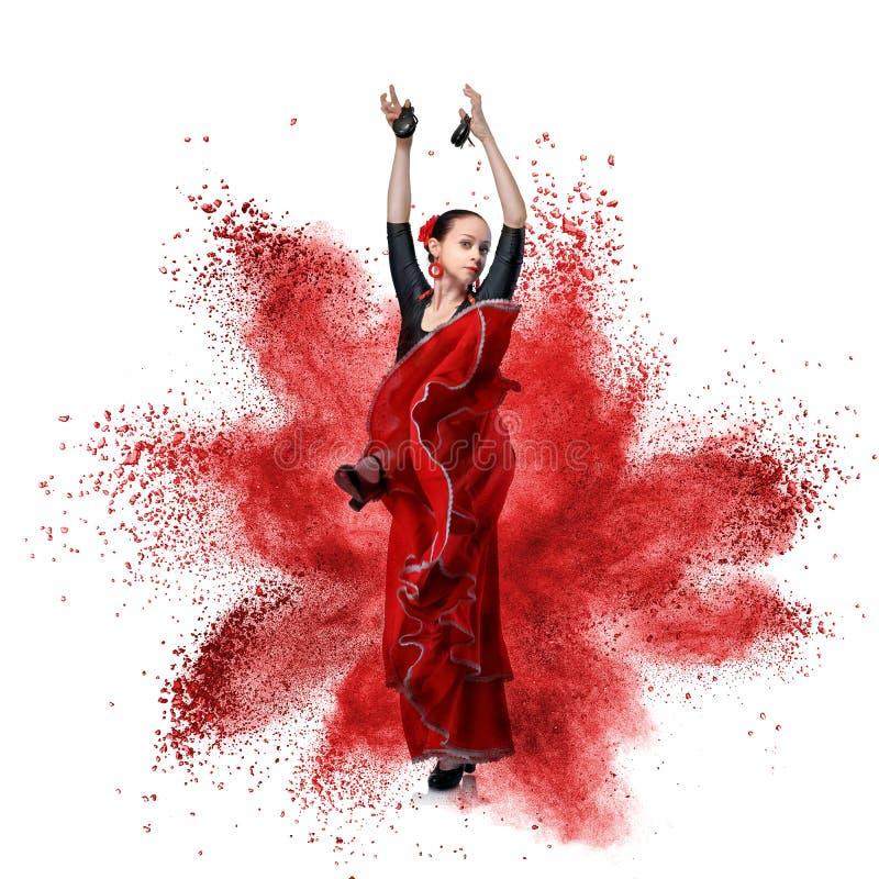Flamenco da dança da jovem mulher contra a explosão foto de stock