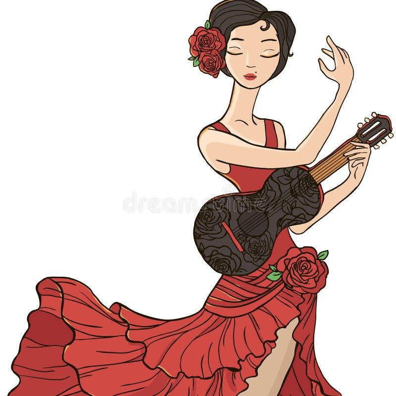 Flamenco da dança da mulher ilustração do vetor