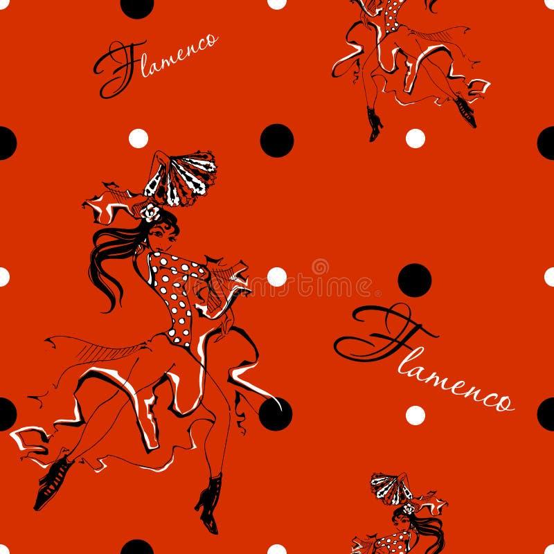 Flamenco da dança da menina Teste padrão sem emenda cigano Fundo do ponto de polca Vermelho Vetor ilustração royalty free