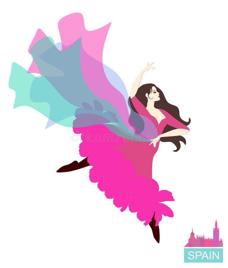 Flamenco da paixão Dançarino espanhol com um xaile de voo isolado no fundo branco Ilustra??o do vetor ilustração stock