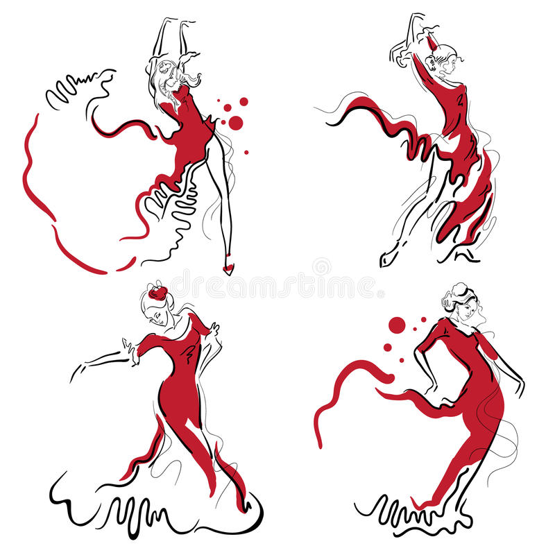 Flamenco dance sketches. royalty free illustration