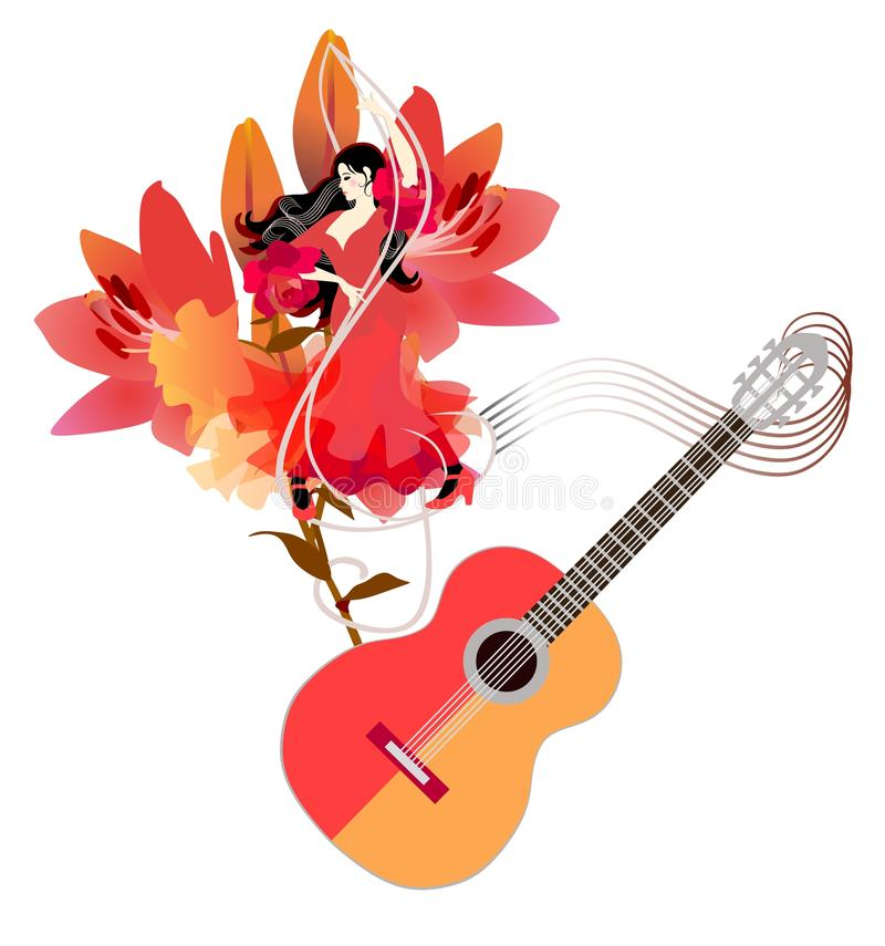 Flamenco dance Spain poster with beautiful spanish girl in red dress against big lilies flowers, treble clef stock illustration