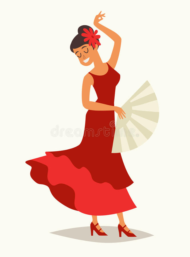 Flamenco dance vector illustration. Women in traditional red dress royalty free illustration