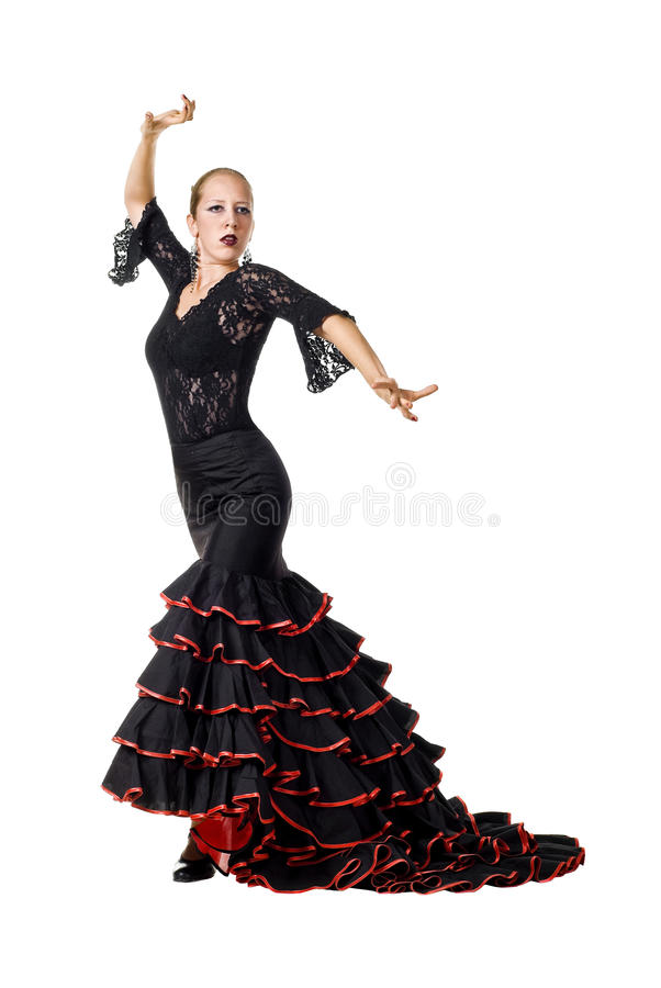 Flamenco dancer. Portrait of young beautiful flamenco dancer. Isolated over white background stock photos
