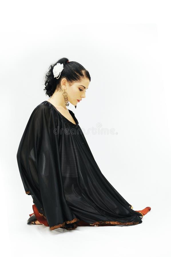 Flamenco dancer. Portrait of young hispanic flamenco dancer girl isolated royalty free stock photography