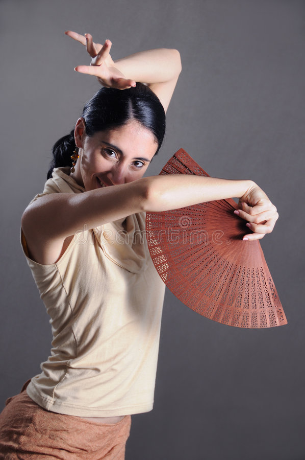 Flamenco dancer. Portrait of young passionate flamenco dancer girl royalty free stock images