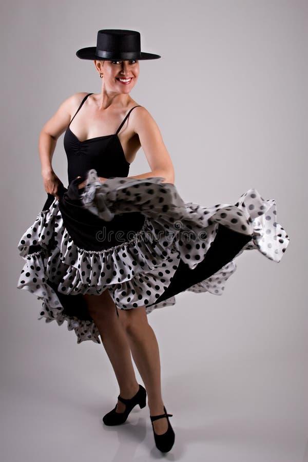 Flamenco Dancer. A Flamenco Dancer In A Black Dress stock photos