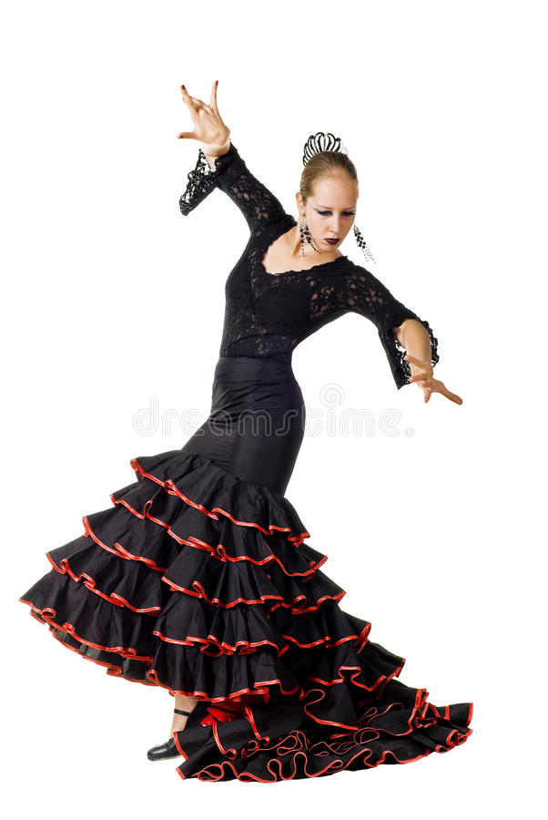 Flamenco dancer in action. Portrait of young elegance Flamenco dancer in action. Isolated over white background stock photo