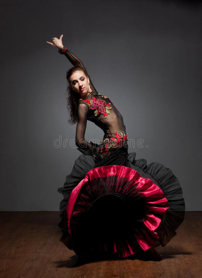 Flamenco dancer in beautiful dress royalty free stock images