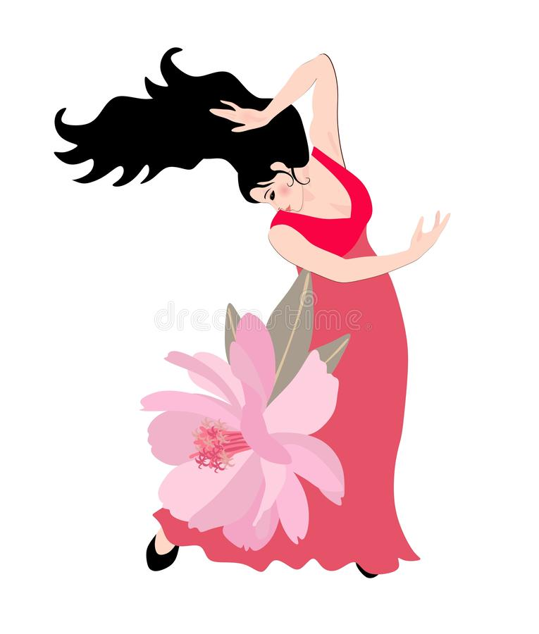 Flamenco dancer girl in red dress wiyh large pink garden flower. Beautiful collection stock illustration