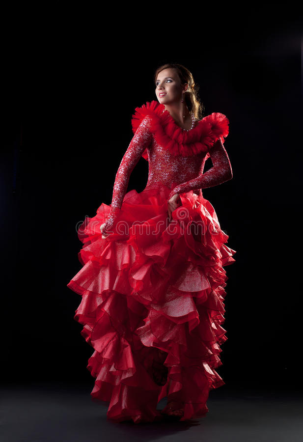 Flamenco dancer in red dress royalty free stock photos