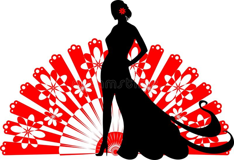Download Flamenco Dancer On A Red Fan Stock Vector - Image: 30949396
