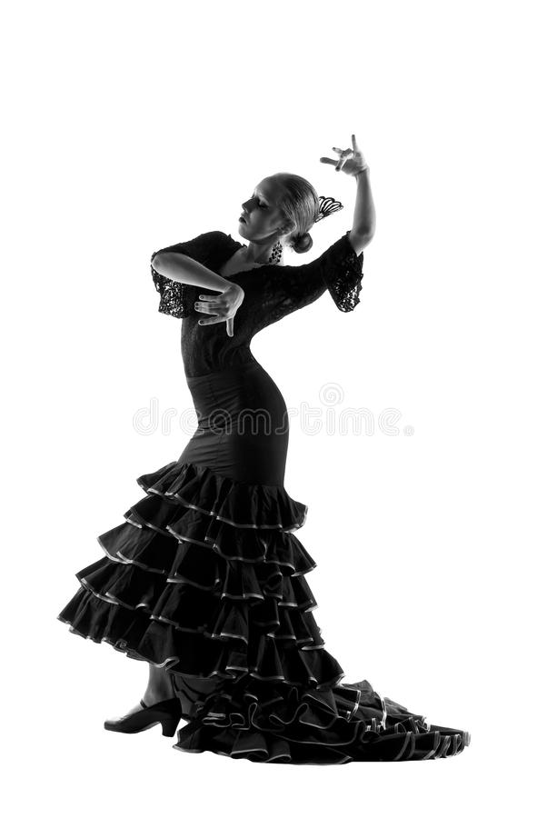 Flamenco dancer silhouette. Over white background royalty free stock images