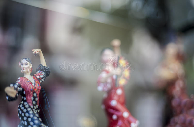 Flamenco dancers figures at souvenirs shop royalty free stock images