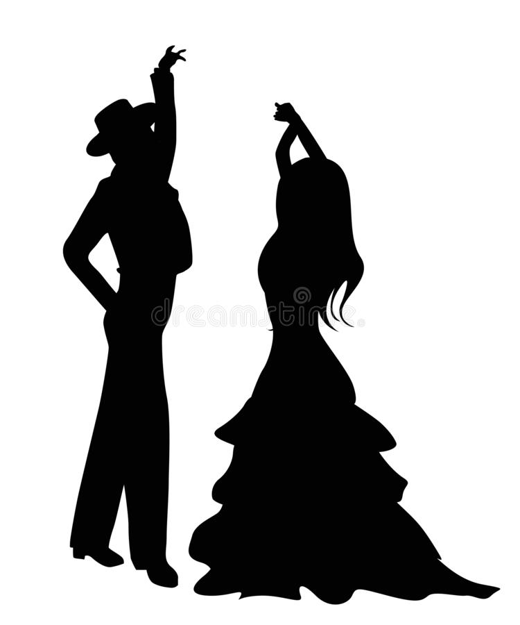 Flamenco dancers silhouettes. Isolated and grouped objects over white background vector illustration