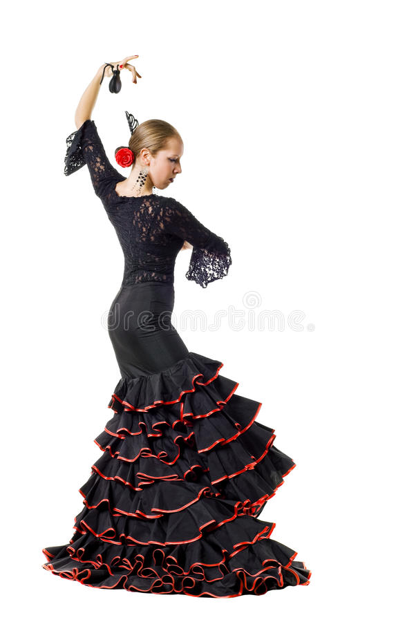 Flamenco dancerwith castanets stock images