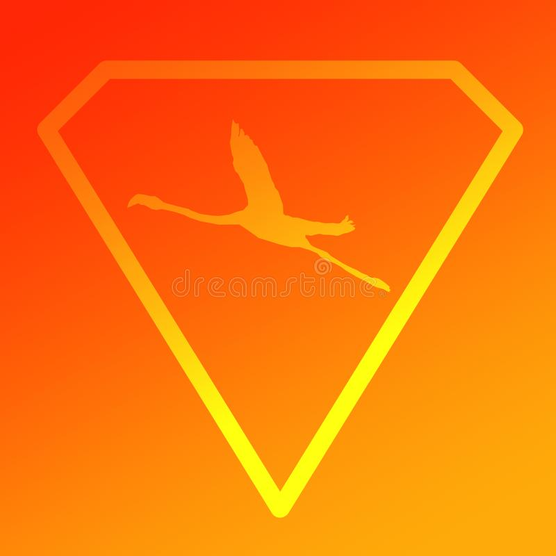 Flamenco de Logo Banner Image Flying Bird en Diamond Shape en fondo amarillo anaranjado stock de ilustración