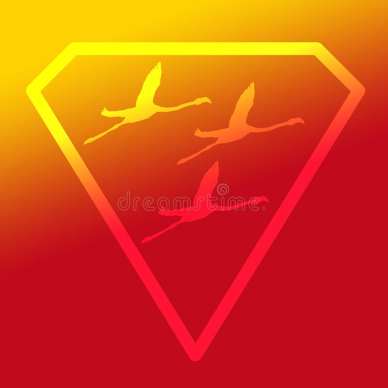 Flamenco de Logo Banner Image Flying Bird en Diamond Shape en fondo amarillo-naranja stock de ilustración