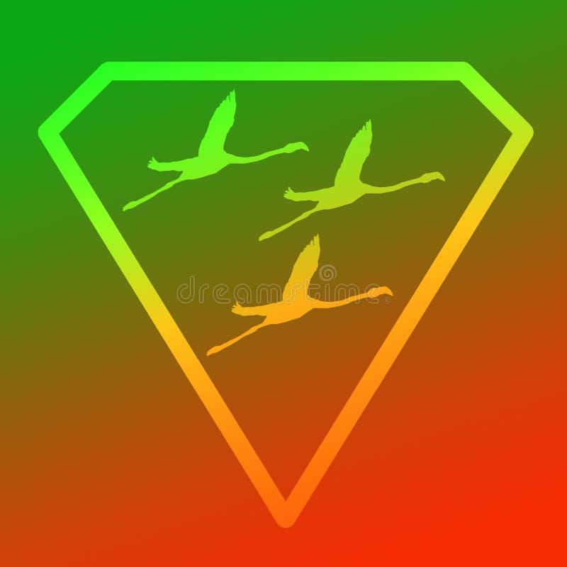 Flamenco de Logo Banner Image Flying Bird en Diamond Shape en fondo anaranjado verde libre illustration