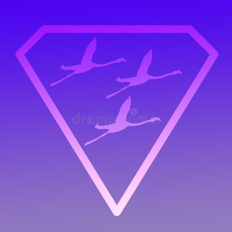 Flamenco de Logo Banner Image Flying Bird en Diamond Shape en fondo azul stock de ilustración