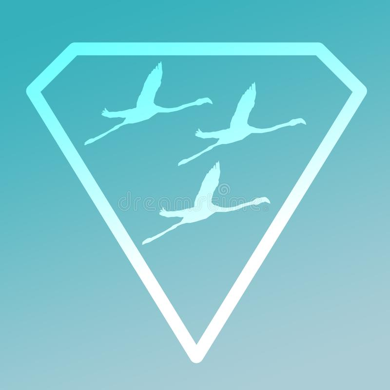Flamenco de Logo Banner Image Flying Bird en Diamond Shape en fondo de la turquesa stock de ilustración