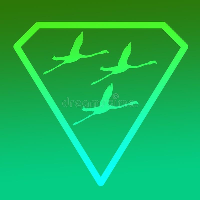 Flamenco de Logo Banner Image Flying Bird en Diamond Shape en fondo verde stock de ilustración