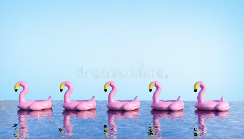 Flamenco de los pájaros que flota en la piscina respectivamente y el concepto de las vacaciones de verano en el fondo brillante A libre illustration