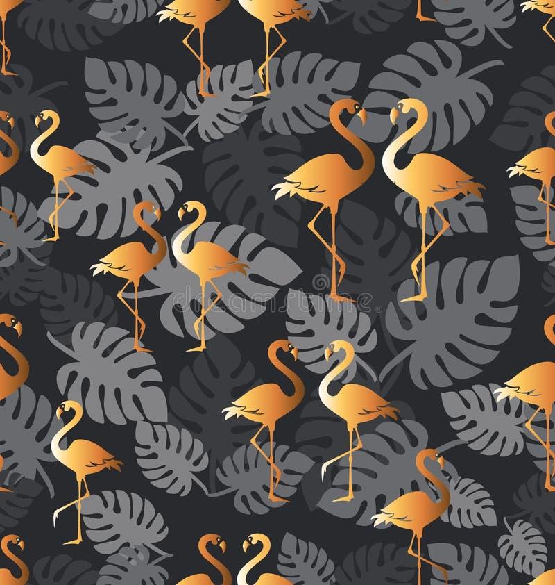 Flamenco de oro Modelo incons?til con los p?jaros tropicales libre illustration