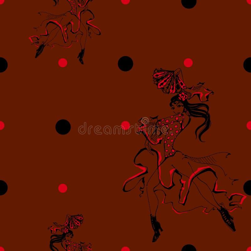 Flamenco del baile de la muchacha Modelo inconsútil gitano Fondo del punto de polca marrón Vector ilustración del vector