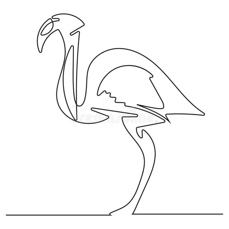 Flamenco del dibujo lineal del garabato stock de ilustración
