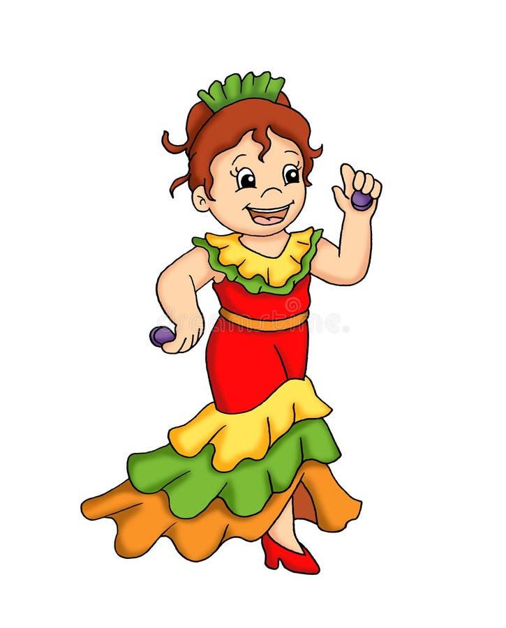 Flamenco del niño y de la danza stock de ilustración