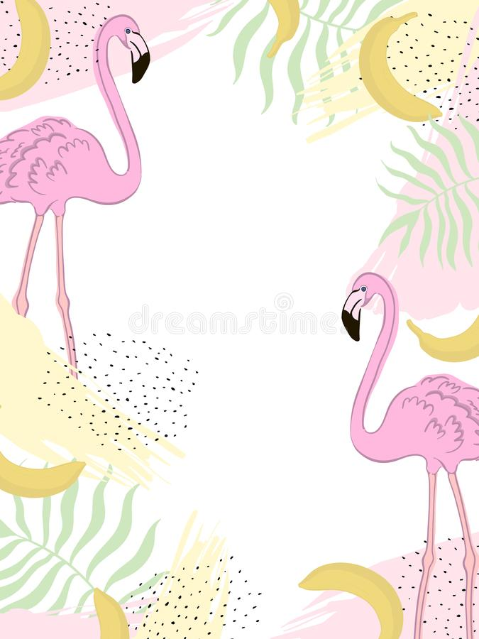Flamenco del trópico del marco del vector hojas del verde libre illustration