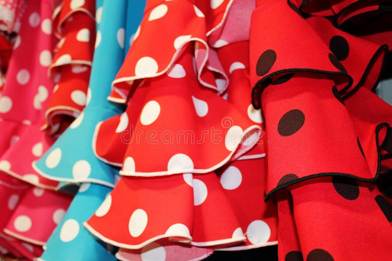 Flamenco dress spain Red and polka-dot Spanish stock, photo, photograph, image, picture. Flamenco dress on rail Red and polka-dot Spanish stock, photo stock image