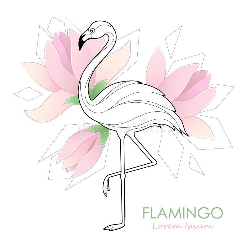 flamenco Ejemplo del vector con un flamenco Pájaro tropical LOGOTIPO ilustración del vector